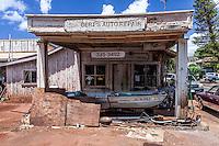 Bert's Auto Repair abandoned shop building in Hanapepe, Kaua'i