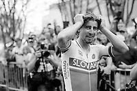 Peter Sagan (SVK/Tinkoff-Saxo) flabbergasted by winning the World Championship only seconds earlier<br /> <br /> Elite Men Road Race<br /> UCI Road World Championships Richmond 2015 / USA