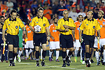 20 September 2014: Match officials. From left: assistant referee Matthew Nelson, referee Mark Kadlecik, fourth official Ahmed Mohamed, and assistant referee Bill Dittmar. The Carolina RailHawks played the New York Cosmos at WakeMed Stadium in Cary, North Carolina in a 2014 North American Soccer League Fall Season match. Carolina won the game 5-4.