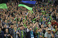 Fans of the Seattle Sounders FC cheer. The Seattle Sounders FC defeated the Columbus Crew 2-1 during the US Open Cup Final at Qwest Field in Seattle,WA, on October 5, 2010.