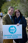Nigel Farage MEP is greeted by a supporter as he arrives at a Brexit Party event in Chester, Cheshire. Mr Farage gave the keynote speech and was joined on the platform by his party colleague Ann Widdecombe, the former Conservative government minister. The event was attended by around 300 people and was one of the first since the formation of the Brexit Party by Nigel Farage in Spring 2019.