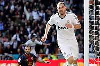 Real Madrid's Karim Benzema celebrates goal in presence of FC Barcelona's Javier Mascherano during La Liga match.March 02,2013. (ALTERPHOTOS/Acero) /NortePhoto