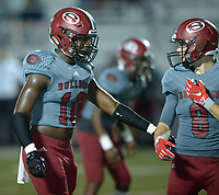NWA Democrat-Gazette/ANDY SHUPE<br /> Springdale Alma Friday, Sept. 7, 2018, during the first half at Jarrell Williams Bulldog Stadium in Springdale. Visit nwadg.com/photos to see photographs from the game.