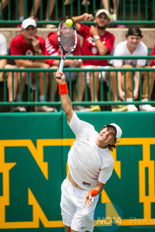 19 MAY 2015:  Collin Altamarino serves during his Division I Men's Tennis Championship singles match against Oklahoma's Dane Webb at the Hurd Tennis Center on the Baylor University campus in Waco, TX.  Virginia defeated Oklahoma 4-1 to win the team national title.  Darren Carroll/NCAA Photos