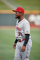 Chattanooga Lookouts Alfredo Rodriguez (35) during warmups before a Southern League game against the Birmingham Barons on May 2, 2019 at Regions Field in Birmingham, Alabama.  Birmingham defeated Chattanooga 4-2.  (Mike Janes/Four Seam Images)