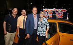 Stephen kocis, Josh Fidler, Kevin McCollum and Robyn Goodman taking the 'Avenue Q' - 15th Anniversary Performance Taxi Cab at New World Stages on July 31, 2018 in New York City.