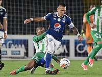 BOGOTA - COLOMBIA, 18-02-2018: Juan Guillermo Dominguez (Der) jugador de Millonarios disputa el balón con Jeison Lucumi (Izq) jugador de Atlético Nacional durante partido partido por la fecha 4 de la Liga Águila I 2018 jugado en el estadio Nemesio Camacho El Campin de la ciudad de Bogotá. / Juan Guillermo Dominguez (R) player of Millonarios fights for the ball with Jeison Lucumi (L) player of Atletico Nacional during the match for the date 4 of the Liga Aguila I 2018 played at the Nemesio Camacho El Campin Stadium in Bogota city. Photo: VizzorImage / Gabriel Aponte / Staff.