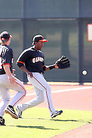Francisco Peguero of the San Francisco Giants plays in a minor league spring training game against the Arizona Diamondbacks at the Giants minor league complex on March 16, 2011  in Scottsdale, Arizona. .Photo by:  Bill Mitchell/Four Seam Images.