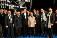 Roma, 16 Ottobre  2012.Commemorazione per le deportazioni degli ebrei dal ghetto di Roma del 16 ottobre 1943..Mario Monti, Presidente del Consiglio con alcuni reduci dai campi di sterminio e Riccardo Pacifici, Presidente della Comunità Ebraica di Roma...Sixty-nine years later, Rome remembers October 16, 1943, when over a thousand Roman Jews, and among them 350 children, were driven from their homes. An official ceremony and candlelight vigil is organized by the Community of Sant'Egidio  and the Jewish Community in memory of the sacrifice Roman Jews rounded up by the Nazis in Rome