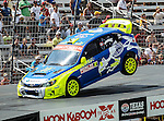 Sverre Isachsen (11) driver of the Subaru Puma Rallycross car, in action during the Global Rally Cross race, the Hoon Kaboom, at Texas Motor Speedway in Fort Worth,Texas. Global Rally Cross driver Marcos Gronholm (3) wins the Hoon Kaboom race..