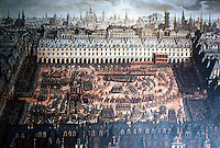 Paris: Place Royale, 1615. Carrousel held to celebrate marriage of Louis XIII to Anne of Austria. Reference only.