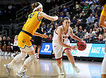 SIOUX FALLS, SD - MARCH 8: Lauren Loven #3 of the Denver Pioneers drives to the basket against Michelle Gaislerova #22 of the North Dakota State Bison at the 2020 Summit League Basketball Championship in Sioux Falls, SD. (Photo by Dave Eggen/Inertia)