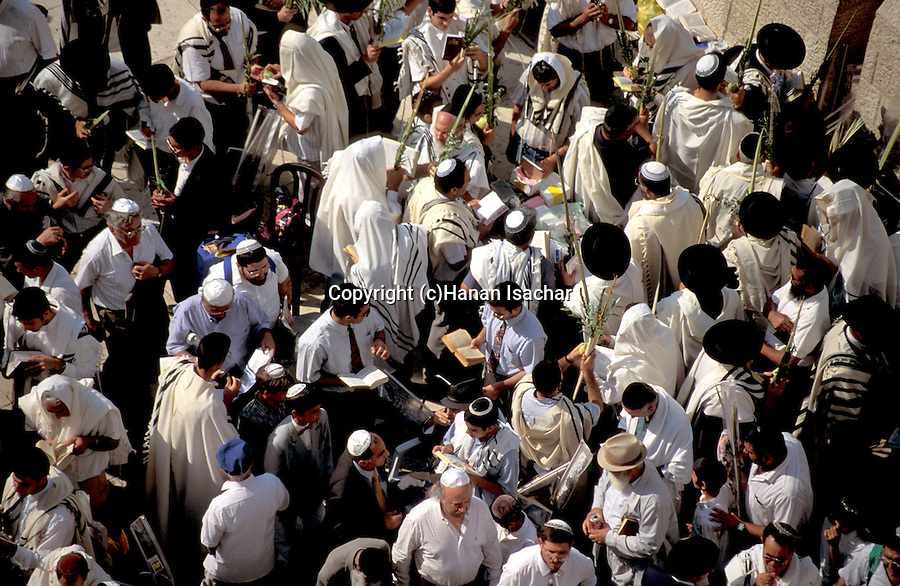Israel, Jerusalem Old City. The Priestly Blessing ceremony by the Western Wall on Succot holiday<br />