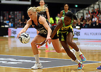 17.09.2016 Silver Ferns Laura Langman and Jamacia's Shanice Beckford in action during the Taini Jamison netball match between the Silver Ferns and Jamaica played at the Energy Events Centre in Rotorua. Mandatory Photo Credit ©Michael Bradley.