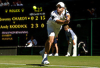 Andy Roddick (USA) (6) against Jeremy Chardy (FRA) in the first round of the gentlemen's singles. Roddick beat Chardy 6-3 7-6 4-6 6-3 ..Tennis - Wimbledon - Day 2 - Tues 23rd June 2009 - All England Lawn Tennis Club  - Wimbledon - London - United Kingdom..Frey Images, Barry House, 20-22 Worple Road, London, SW19 4DH.Tel - +44 20 8947 0100.Cell - +44 7843 383 012
