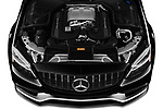 Car Stock 2019 Mercedes Benz C-CLass 63-AMG 4 Door Sedan Engine  high angle detail view