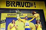 Julian Alaphilippe (FRA) Deceuninck-Quick Step wins Stage 3 atop Cote de Mutigny and takes the Yellow Jersey of the 2019 Tour de France running 215km from Binche, Belgium to Epernay, France. 8th July 2019.<br /> Picture: ASO/Alex Broadway | Cyclefile<br /> All photos usage must carry mandatory copyright credit (© Cyclefile | ASO/Alex Broadway)