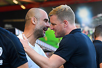 Manchester City Manager Pep Guardiola and AFC Bournemouth Manager Eddie Howe during AFC Bournemouth vs Manchester City, Premier League Football at the Vitality Stadium on 25th August 2019