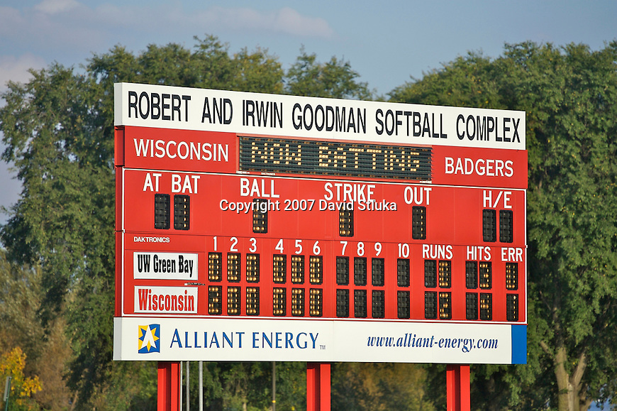 MADISON, WI - OCTOBER 6: A view of the scoreboard at the Goodman Diamond Softball Complex during the Wisconsin Badgers softball game against UW-Green Bay at the Goodman Softball Complex in Madison, Wisconsin on October 6, 2007. The Badgers beat UW-Green Bay 2-0. (Photo by David Stluka).