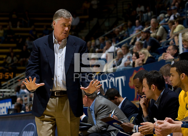 California head coach Mike Montgomery talks with his players during the game against San Diego at Haas Pavilion in Berkeley, California on November 1st, 2011.  California defeated San Diego, 88-53.