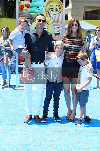 "Doug Mclaughlin, Lydia McLaughlin, Maverick McLaughlin, Stirling McLaughlin<br /> at the premiere of ""The Emoji Movie,"" Village Theater, Westwood, CA 07-23-17<br /> David Edwards/DailyCeleb.com 818-249-4998"