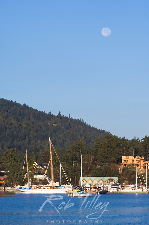 Canada, BC, Gulf Islands, Salt Spring Island, Full Moon Setting Over Ganges Harbor