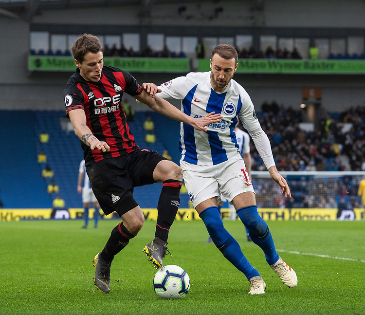 Brighton & Hove Albion's Glenn Murray (right) battles with Huddersfield Town's Eric Durm (left) <br /> <br /> Photographer David Horton/CameraSport<br /> <br /> The Premier League - Brighton and Hove Albion v Huddersfield Town - Saturday 2nd March 2019 - The Amex Stadium - Brighton<br /> <br /> World Copyright © 2019 CameraSport. All rights reserved. 43 Linden Ave. Countesthorpe. Leicester. England. LE8 5PG - Tel: +44 (0) 116 277 4147 - admin@camerasport.com - www.camerasport.com