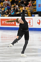 Tuesday, March 29, 2016: Niki Wories of the Netherlands skates during a practice session at the International Skating Union World Championship held at TD Garden, in Boston, Massachusetts. Eric Canha/CSM
