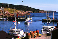 Petty Harbour, Newfoundland and Labrador, Canada - Commercial Fishing Boats and Crab Traps in a Picturesque Fishing Village