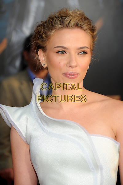 "SCARLETT JOHANSSON.""Iron Man 2"" World Premiere held at the El Capitan Theatre, Hollywood, California , USA, .26th April 2010..arrivals portrait headshot hair up one shoulder make-up silver white diamond studs stud earrings  grey gray wavy edged edge .CAP/ADM/BP.©Byron Purvis/AdMedia/Capital Pictures."