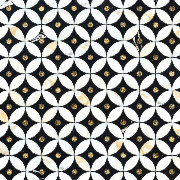 Ettienne Petite, a waterjet and glass mosaic, shown in polished Calacatta, 24 K Gold Glass, and honed Nero Marquina,  is part of the Aurora™ Collection by Sara Baldwin for New Ravenna.