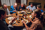 Night time in the cabin during the fall cattle gathering in the High Sierra...A late dinner at the dining room table