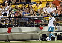 Marta #10 of Marta's XI greets the fans during the WPS All-Star game against Abby's XI at the KSU Stadium in Kennesaw, Georgia on June 30 2010. Marta XI won 5-2.