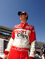 Apr 17, 2009; Avondale, AZ, USA; NASCAR Nationwide Series driver Joey Logano during qualifying prior to the Bashas Supermarkets 200 at Phoenix International Raceway. Mandatory Credit: Mark J. Rebilas-