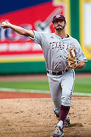 Texas A&M Aggies pitcher Ryan Hendrix (27) warms up before the Southeastern Conference baseball game against the LSU Tigers on April 24, 2015 at Alex Box Stadium in Baton Rouge, Louisiana. LSU defeated Texas A&M 9-6. (Andrew Woolley/Four Seam Images)