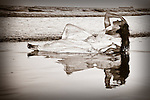 Trash the Dress - Reflection on Beach, Wedding Dress, Seal Beach California, Published Photograph, Mariposa County Fair - Award Winning Images<br />