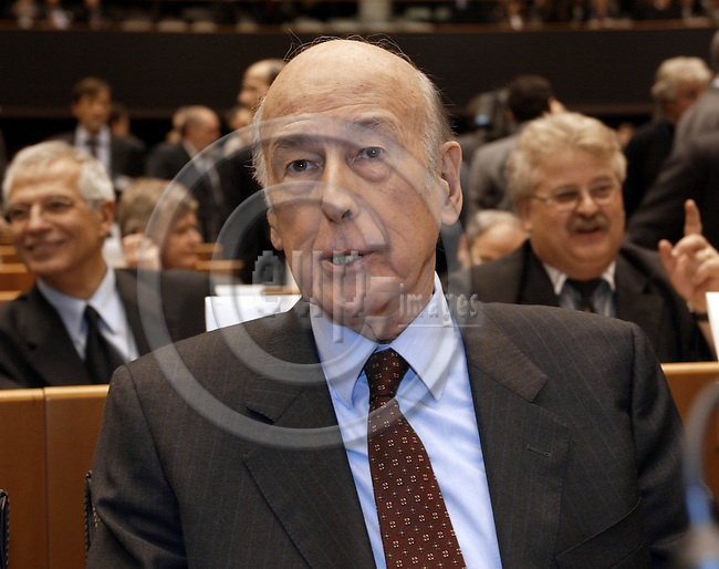 BRUSSELS, BELGIUM / 28 February 2002--The opening of the Convention on the future of the European Union in the EU-Parliament..The President of the Convention Valéry Giscard D'Estaing..PHOTO: JUHA ROININEN