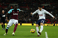 Cheikhou Kouyate of West Ham United and Son Heung-Min of Tottenham during Tottenham Hotspur vs West Ham United, Premier League Football at Wembley Stadium on 4th January 2018