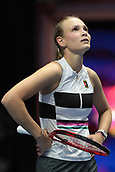 February 3rd 2019. St Petersburg, Russia; Donna Vekic of Croatia reacts to the call versus Kiki Bertens of Netherlands during the St. Petersburg Ladies Trophy tennis tournament final match on February 03, 2019, at Sibur Aren