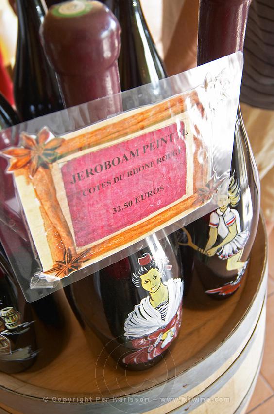 wine shop hand painted bottles le cellier des princes chateauneuf du pape rhone france