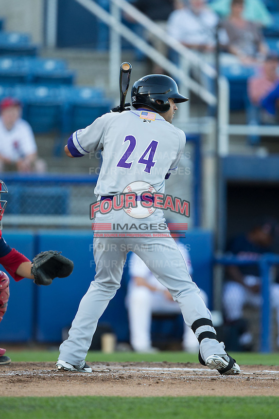 Keenyn Walker (24) of the Winston-Salem Dash at bat against the Salem Red Sox at LewisGale Field at Salem Memorial Ballpark on May 13, 2015 in Salem, Virginia.  The Red Sox defeated the Dash 8-2.  (Brian Westerholt/Four Seam Images)