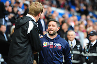 Graham Potter Manager of Swansea City greets Lee Johnson Manager of Bristol City during the Sky Bet Championship match between Swansea City and Bristol City at the Liberty Stadium, Swansea, Wales, UK. Saturday 25 August 2018