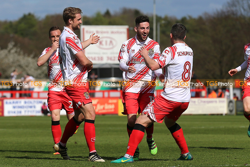 Tom Pett of Stevenage (2nd R) scores the first goal for his team and celebrates during Stevenage vs Barnet, Sky Bet EFL League 2 Football at the Lamex Stadium on 1st April 2017