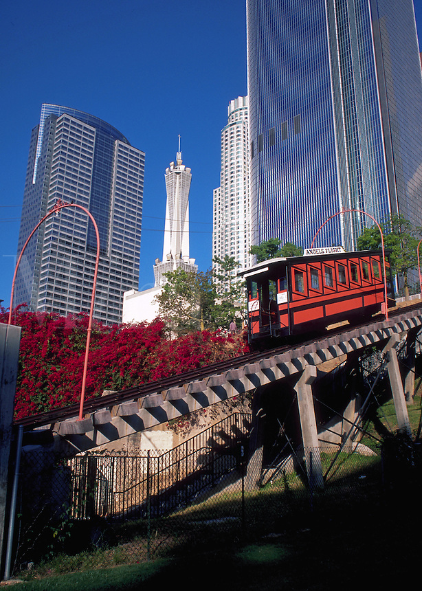 The Angels Flight inclined cable railway transportation system in downtown Los Angeles. California.