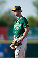 Greensboro Grasshoppers first baseman Austen Smith (18) on defense against the Hickory Crawdads at L.P. Frans Stadium on May 6, 2015 in Hickory, North Carolina.  The Crawdads defeated the Grasshoppers 1-0.  (Brian Westerholt/Four Seam Images)