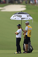 Andy Sullivan (ENG) and caddy Sean Mcdonagh wait on the 15th hole during Friday's Round 2 of the 2017 PGA Championship held at Quail Hollow Golf Club, Charlotte, North Carolina, USA. 11th August 2017.<br /> Picture: Eoin Clarke | Golffile<br /> <br /> <br /> All photos usage must carry mandatory copyright credit (&copy; Golffile | Eoin Clarke)