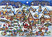 Interlitho-Theresa, CHRISTMAS SANTA, SNOWMAN, WEIHNACHTSMÄNNER, SCHNEEMÄNNER, PAPÁ NOEL, MUÑECOS DE NIEVE, paintings+++++,santa village,KL6116,#X# ,puzzle ,marketplace