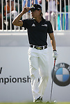 6 September 2008:  Camilo Villegas tips his hat to the crowd before teeing off at the first hole in the second round of play at the BMW Golf Championship at Bellerive Country Club in Town & Country, Missouri, a suburb of St. Louis, Missouri.  The BMW Championship is the third event on the PGA's Fed Ex Tour.  Villegas, of Medellin Colombia (South America) was the leader after the conclusion of round one play with a five-under par score.