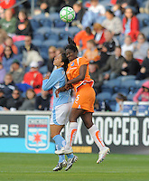 #11 Christiane of the Chicago Red Stars and # 5 Anita Asante of Sky Blue FC hit heads on a header at midfield. Sky Blue FC beat the Red Star 2-0.