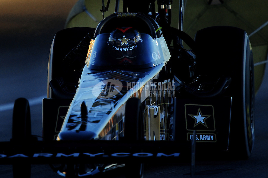 Sept. 4, 2010; Clermont, IN, USA; NHRA top fuel dragster driver Tony Schumacher during qualifying for the U.S. Nationals at O'Reilly Raceway Park at Indianapolis. Mandatory Credit: Mark J. Rebilas-